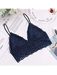 2 Pieces Women Deep V Bra Lace Tube Top Underwear Sexy Lace Summer Bras Top with Chest Pad (Color : Blue, Size : Free Size)