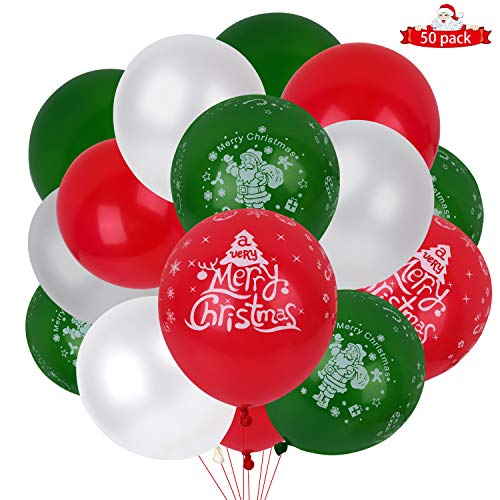 Christmas Balloons, Nesus 50 pcs Latex Balloons 12 inch Multicolor Green Red White Pattern Balloons Party Balloons for Christmas New Year Decorations (Christmas Balloons)
