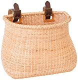 """Retrospec Bicycles Cane Woven Oval """"Dream Catcher"""" Basket with Authentic Leather Straps and Brass Buckles, Natural"""
