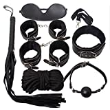 Intimate Melody® Black 7 Pcs/Pack Velvet Lining Kit Erotic Lady Toys Night Fetish Couples Tools Set Bondage Handcuffs+Fetter+Blindfold+Flirting Horse Whip+Breathable Ball Gag+Slave Collar+ Rope