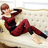 GBHNJ Thermal Underwear Sets Women'S Thin Slim Autumn And Winter Black F(Suitable Weight 80-130 Catty)