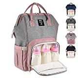 Diaper Bag Multi-Function Waterproof Travel Backpack Nappy Bag for Baby Care with Insulated Pockets, Large Capacity, Durable (Pink Grey)