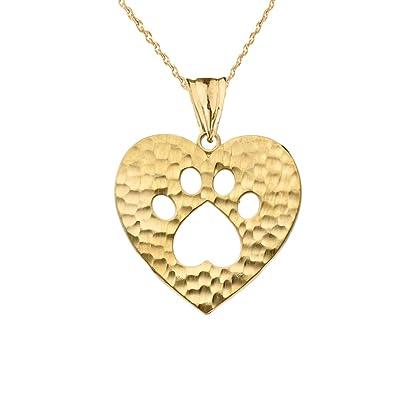 Amazon elegant 14k yellow gold heart shaped cut out paw print amazon elegant 14k yellow gold heart shaped cut out paw print charm pendant necklace 16 jewelry aloadofball Choice Image