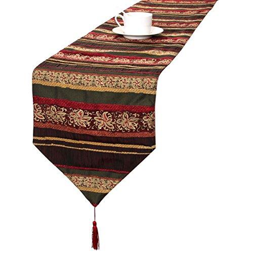 Multi Stripe Runner - Grelucgo Modern Jacquard Fabric Stripe Table Runners and Dresser Scarves with Multi-Tassels, Customer Order (12x120 inch)