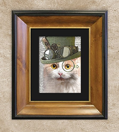 Tenacious Ginger Cat in Top Hat, Dictionary Cat Print, Cat Wall Art White Ginger Matted Print