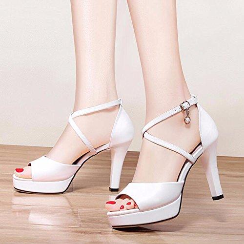 durmientes JRFBA Tacón Alto de de Señoras Coreano Zapatos de Sandalias Hebillas Mujer Zapatos Blanco Zapatos Zapatos y Verano 0wr40q