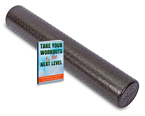 Premium-Foam-Roller-Bonus-E-Guide-with-Top-Foam-Rolling-Exercises-Black-Round-High-Density-Professional-Massage-Roller-Is-6-x-36-and-Made-in-USA-Buy-Now-to-Alleviate-Pain-in-All-Body-Areas
