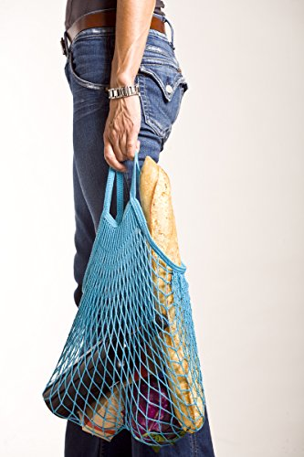 French Knit Reusable Cotton ECO Grocery String Bag (Blue, Classic Handle) (Canvas Double French Wallet)