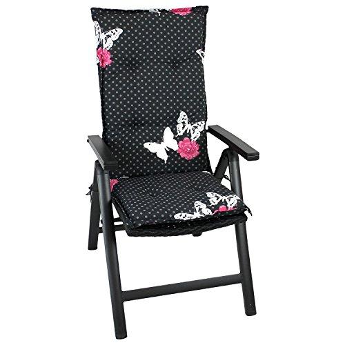 Gartenstuhlauflage-Stuhlauflage-Polsterauflage-Hochlehner-116x46cm-6cm-dick-schwarz-mit-Schmetterlingen-Sitzauflage-Sitzpolsterauflage-Sitzkissenpolster
