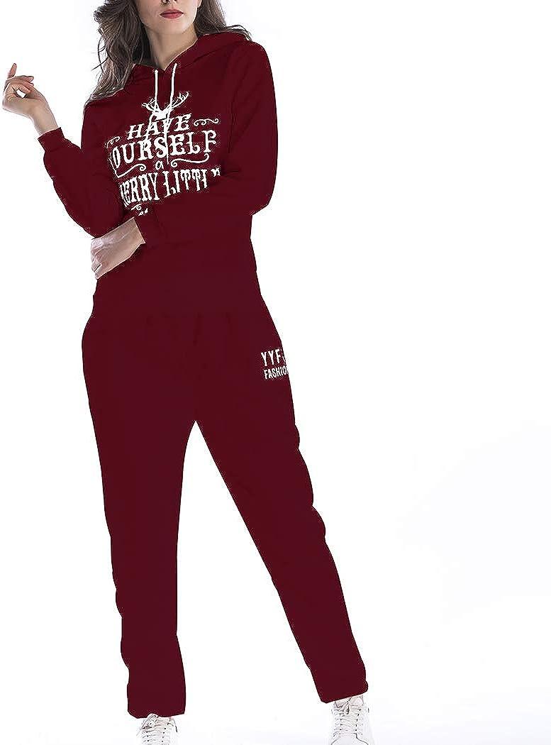 Pantalon Gym Yoga Tenue de Sport V/êtement de Noel Style 5617 HANMAX Ensemble Deux Pi/èces Femme Grande Taille Jogging Surv/êtement Manches Longue Sweat /à Capuche