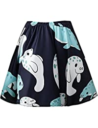 Women's Elastic Waist Cute Sloth Print Flared Mini Skirt