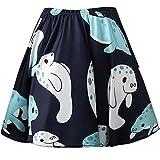 Fancyqube Women's Elastic Waist Cute Pattern Dolphin Print Flared Mini Skirt Multicolor XL