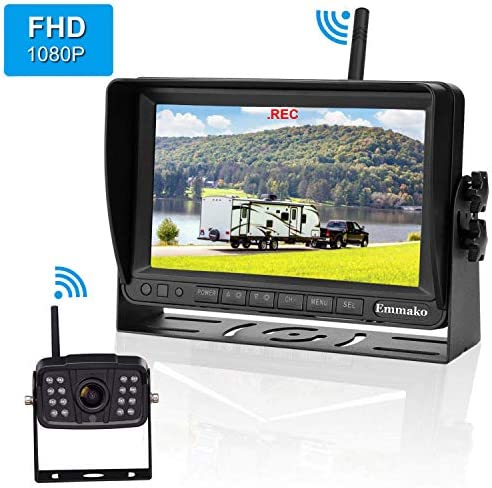 Emmako FHD 1080P Digital Wireless Backup Camera With 7 DVR Monitor Support Split Quard Screen For Trailers,RV,5th Wheels High-Speed Observation System Adjustable Rear Front View, Guide Lines ON Off