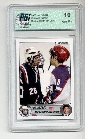 Alexander Ovechkin Hockey (Phil Kessel Alexander Ovechkin WHite Rookie Card PGI 10)
