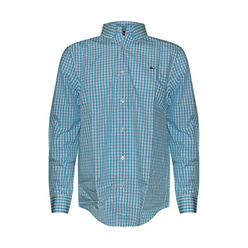 Fit Tattersall Cotton - Vineyard Vines Men's Classic Fit Whale Shirt (Myrtle Tattersall, M)