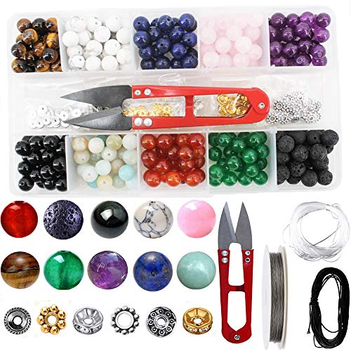 Stone Beads Tool Box Set Kits, 240 PCS Natural Amethyst Lava Stones and Other Assorted Color Gemstones with Accessories Tools for DIY Bracelet Jewelry Making