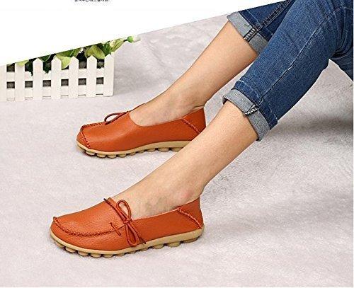 Wenhong Dames Drijfschoenen Rundleer Instappers Loafers Bootschoenen Flats Oranje A