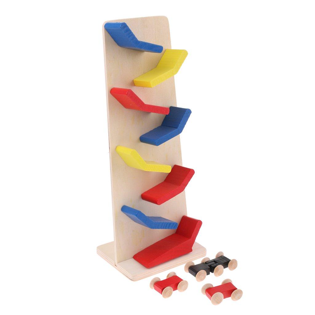 MonkeyJack Wooden Ramp Racetrack Inertia Car Playset Toddlers Baby Toys Developmental Preschool Games Toy