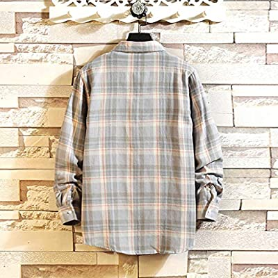 WINJUD Mens Shirt Long Sleeve Regular Fit Plaid Top Autumn Winter Casual Shirts at  Men's Clothing store