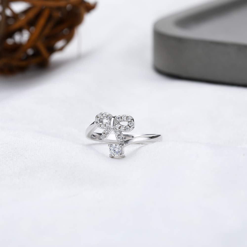 Baoyilong S925 Sterling Silver Ring Female personalite Temperament Zircon Bow Open Finger Ring