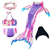 Mermaid Tail Swimmable Princess Bikini Set Swimsuit Costume for Girls (130(6-7Y), Brilliant Purple)