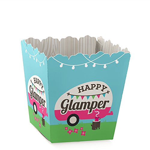 Lets Go Glamping - Party Mini Favor Boxes - Camp Glamp Party or Birthday Party Treat Candy Boxes - Set of 12