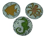 Zeckos 3 Piece Colorful Round Under The Sea Stepping Stone/Wall Hanging Set