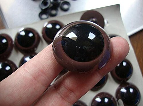 TOPWEL 100PCS Brown Plastic Safety Eyes for Sewing Crafting Buttons for Bear Doll of DIY (14MM)