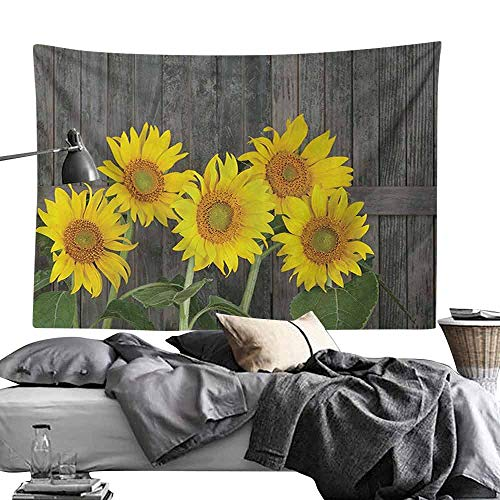 Homrkey Decorative Tapestry Sunflower Decor Helianthus Sunflowers Against Weathered Aged Fence Summer Garden Photo Print Wall Hanging W70 x L59 Brown Yellow Green