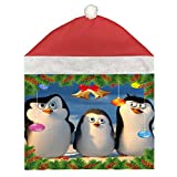 YiDen 1 Pack Christmas Hat Chair Covers Penguins Plush Red Decoration