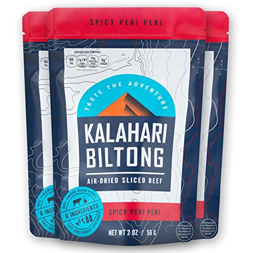 Kalahari Biltong | Air-Dried Thinly Sliced Aged Beef | Zero Sugar | Gluten-Free & non-GMO | Better than Jerky | Spicy Peri Peri | 2oz (Pack of 3)