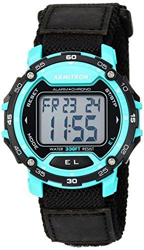 Armitron Sport Mens 40/8291TEL Teal Accented Digital Chronograph Dial Nylon Strap Watch