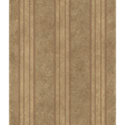 Chesapeake ARS26075 Giovanni Tuscan Alternating Stripe Wallpaper, Brown