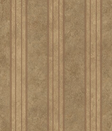 Chesapeake ARS26075 Giovanni Tuscan Alternating Stripe Wallpaper, Brown