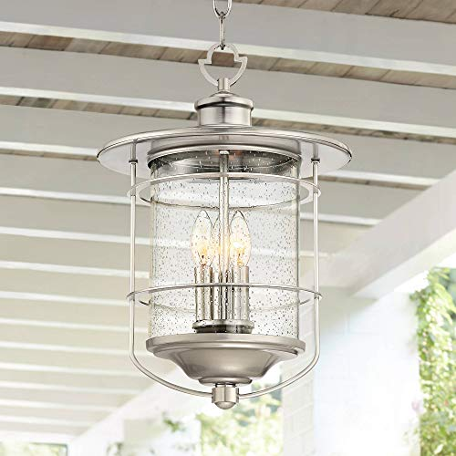 "Casa Mirada Industrial Outdoor Light Hanging Lantern Brushed Nickel Damp Rated 19"" Clear Seedy Glass for Porch Patio - Franklin Iron Works"