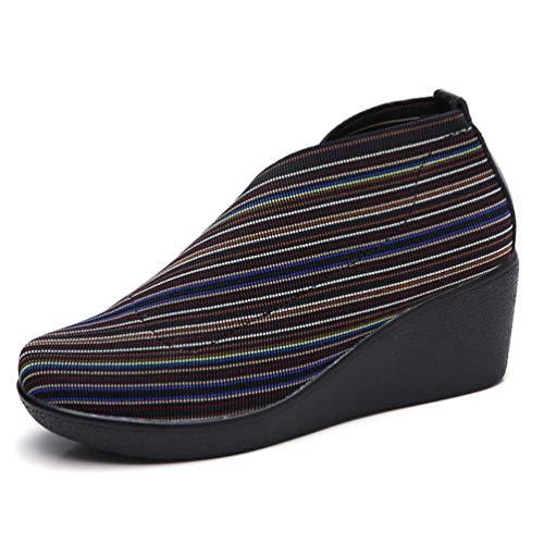 Piattaforma Pelle Mocassini Scarpe Primavera Su Piatto Autunno Donne Ginnastica Femal Shoes Da Casual Stripe In Slip dUI0wW