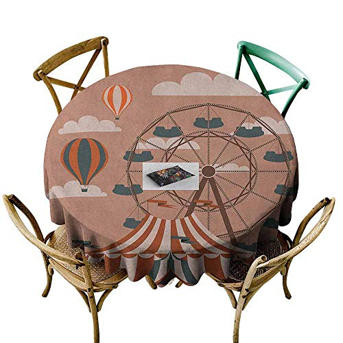 Sunnyhome Washable Round Tablecloth Circus Ferris Wheel Flying Hot Air Balloons Sky Clouds Fun Holiday Themed Illustration Multicolor Table Cover for Kitchen Dinning Tabletop Decoratio 47 INCH