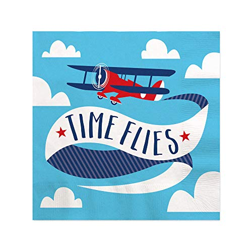 Taking Flight - Airplane - Vintage Plane Baby Shower or Birthday Party Cocktail Beverage Napkins (16 Count)