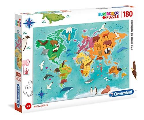 Clementoni 29753 29753-Supercolor Jigsaw Puzzle Animal Map-180 Pieces, Multi-Coloured ()