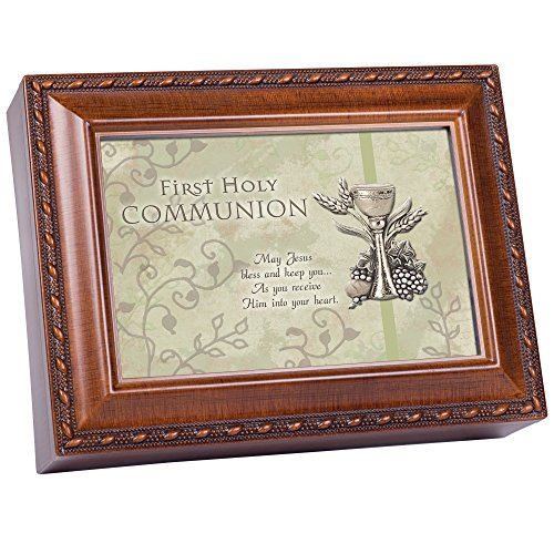 Cottage Garden Inspirational Music Box - Communion Plays Ave Maria with Woodgrain Finish