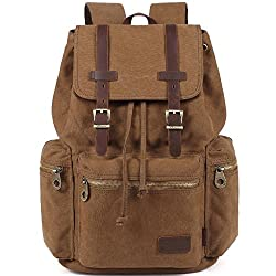 Kaxidy Multi-function Vintage Canvas Leather Hiking Travel Military Backpack Messenger Tote Bag (Coffee)