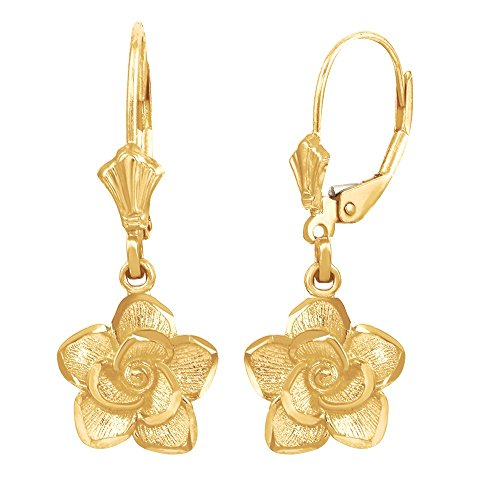 (Beautiful 10k Yellow Gold Rose Flower Leverback Earrings)