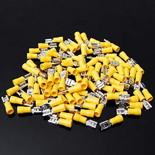 500 Pack 12-10 Gauge Female Quick Disconnect Yellow Vinyl Crimp Terminals .250'