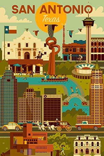 (San Antonio, Texas - Geometric (9x12 Art Print, Wall Decor Travel Poster))