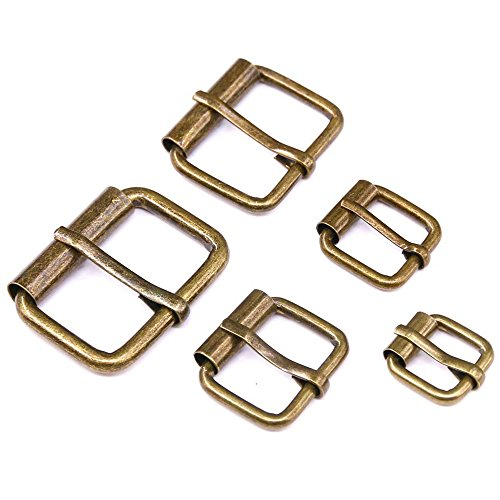 ◕‿◕ Swpeet 50 Pcs Bronze Assorted Multi-Purpose Metal Roller Buckles for Belts Hardware Bags Ring Hand DIY Accessories - 1/2 Inch, 5/8 Inch, 3/4 Inch, 1 Inch, 1-1/4 Inch (Small Buckle)