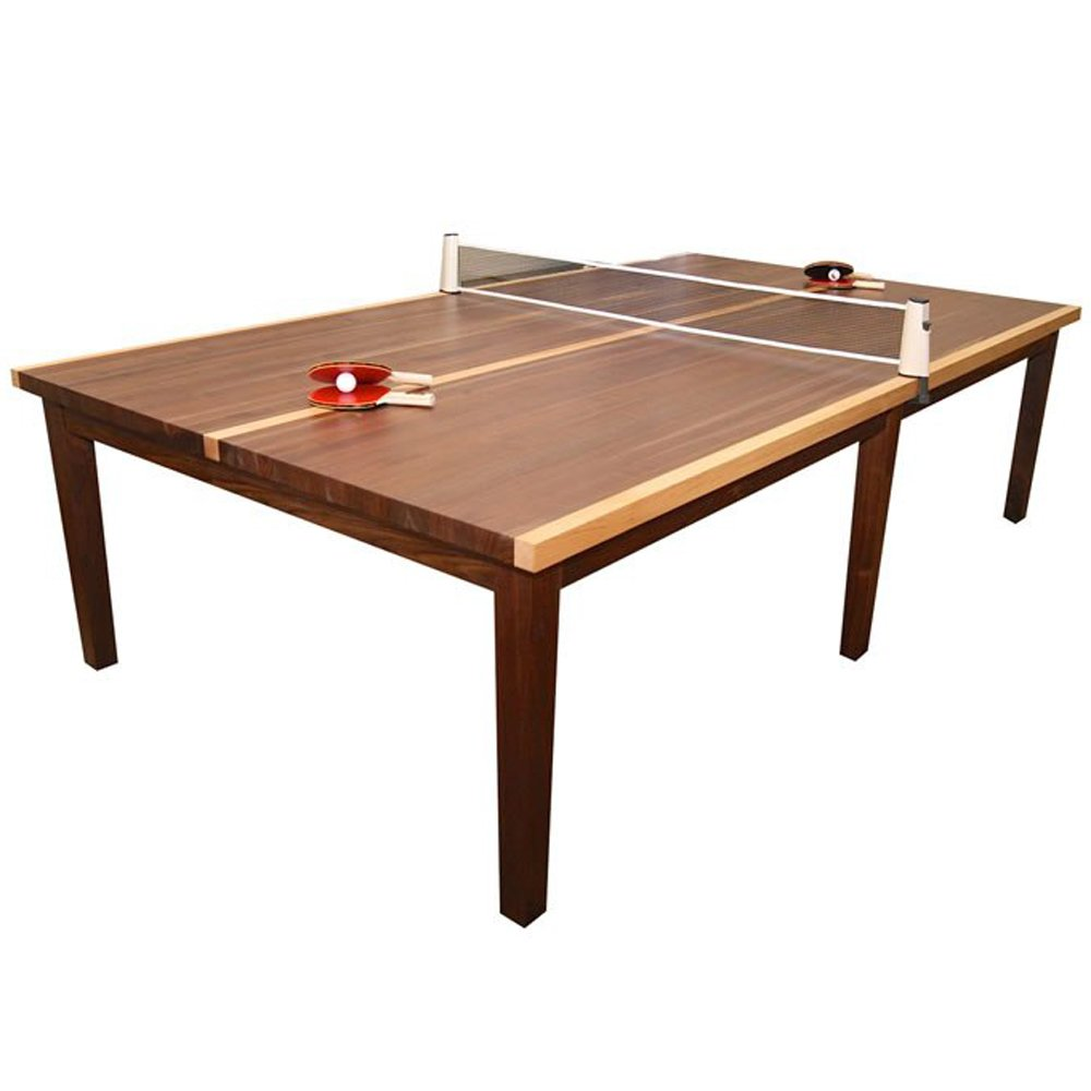 Venture 9 Foot 2-in-1 Dining and Table Tennis Table by Winston Walnut Finish with Retractable Net, Paddles, and Balls.