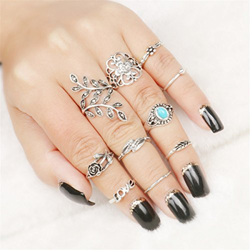 CH 10pcs/Set Women Ancient Silver Vintage Carving Turquoise Love Willow Rings ()