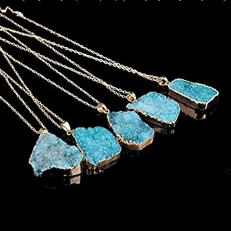 TR.OD Crystal Quartz Healing Necklace Gemstone Necklace Pendant Aqua HITTIME