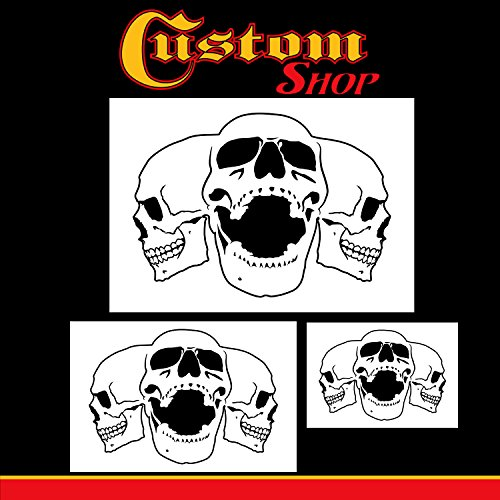 Custom Shop Airbrush Triple Skull Pile Stencil Set (Skull Design in 3 Scale Sizes) - Laser Cut Reusable Templates - Auto, Motorcycle Graphic Art Auto Airbrush Stencils