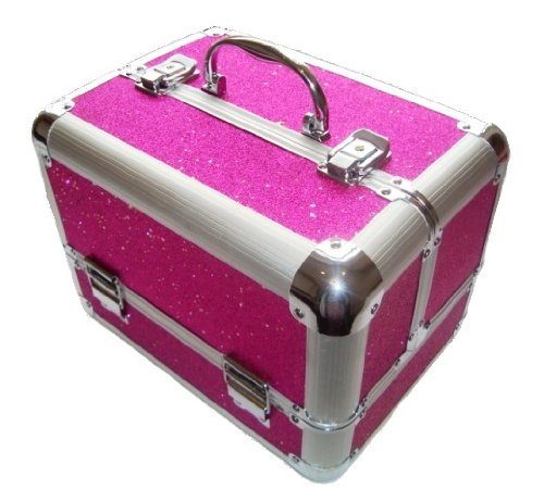 Sparkly Hot Pink Aluminium Beauty Make up Vanity Case Box Nail ...